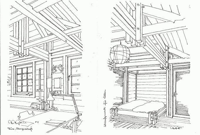 Holzskelettbau wandaufbau  Holzskelett-Blockhaus, massiv